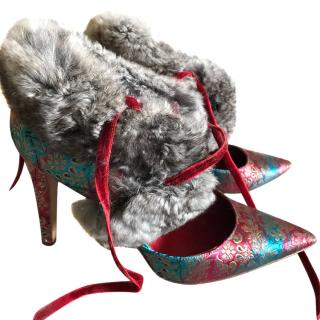 Manolo Blahnik paisley chinchilla trimmed shoes