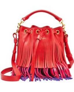 Saint Laurent Emmanuelle Tricolor Fringe Bucket Bag, Red/Pink/Purple