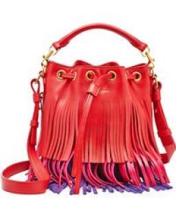 Saint Laurent Emmanuelle Tricolor Fringe Bucket Bag, Red/Pink/Purple