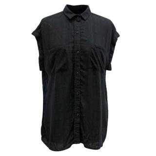 Rails Black Short Sleeve Button Down Top