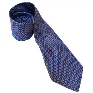 Thomas Pink Blue and raspberry silk tie