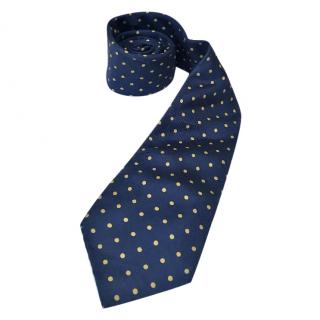 Thomas Pink blue and yellow polka dot silk tie