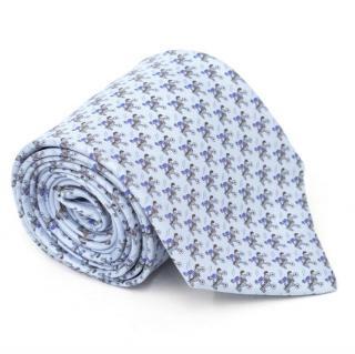 Hermes Light Blue Jockey Pattern Tie
