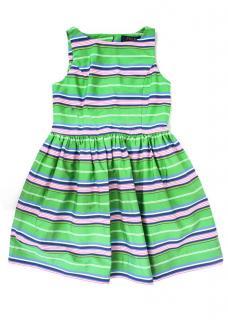 Polo Ralph Lauren Green Striped Kids Dress