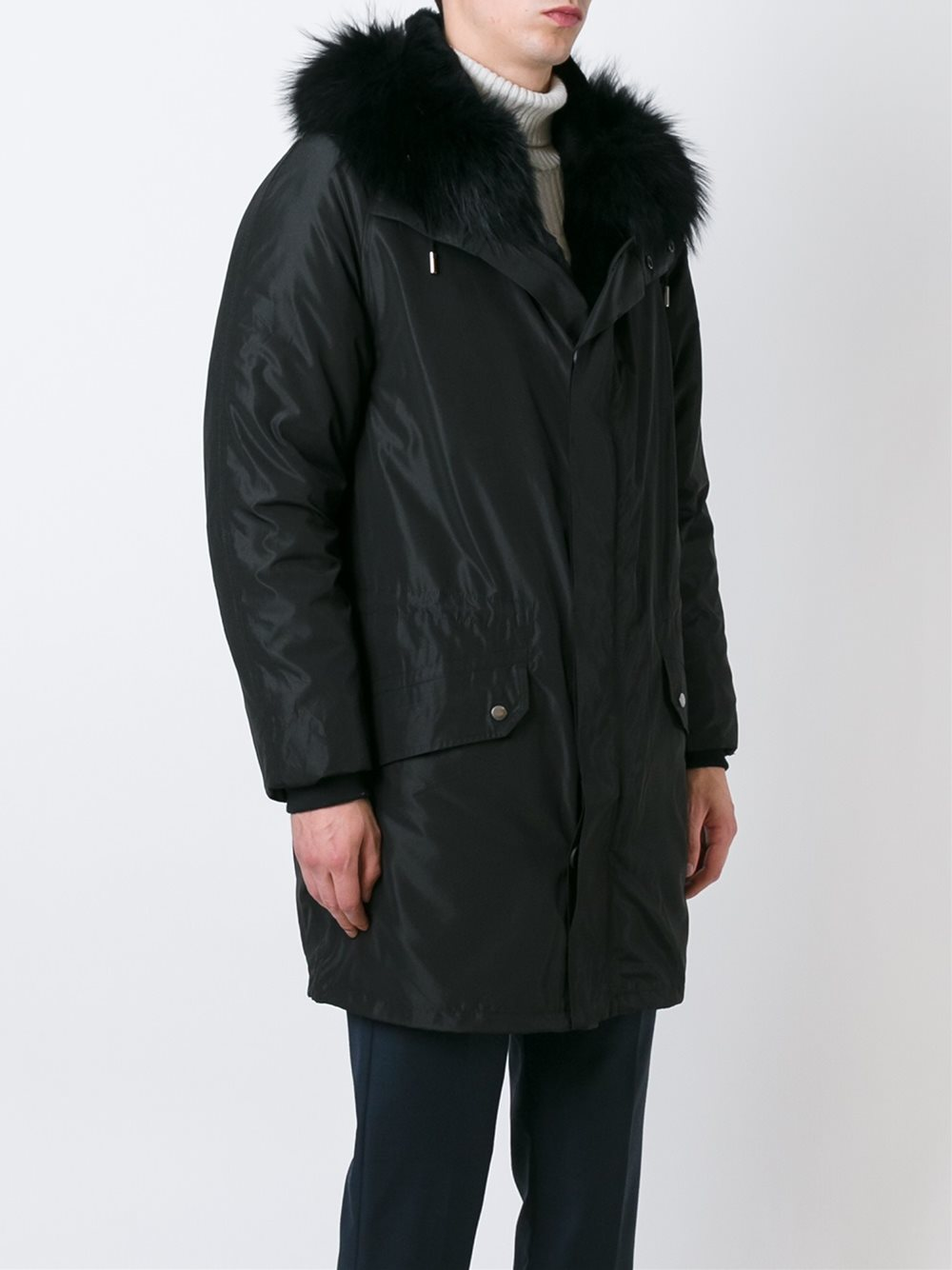 New Yves Salomon Parka,  full Fur lining, black BNWT, men's (L) finest quality, luxury warmth