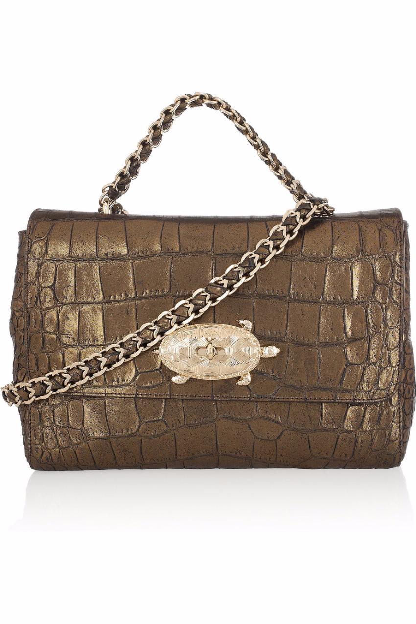 7d4467fdc0 Mulberry Lily Chain Turtle Lock Espresso Sparkle Shoulder Bag