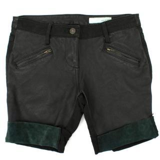 Sass & Bide Black Leather Finish Shorts