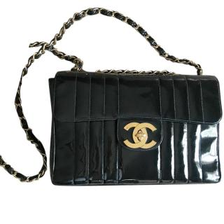 Chanel Vintage Classic Single Flap Patient Leather Jumbo