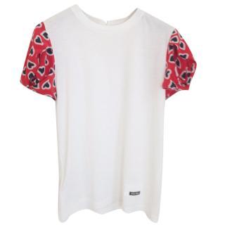 Miu Miu Cotton top with silk sleeves