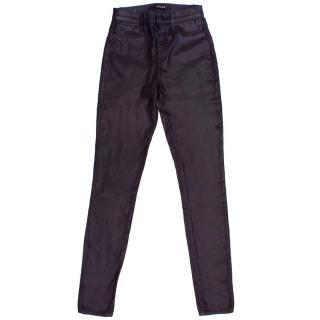 J Brand Deep Purple Coated Jeans