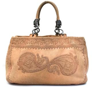 Ermanno Scervino Patterned Tan Leather Tote Bag