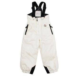 Moncler Kids White Ski Salopettes