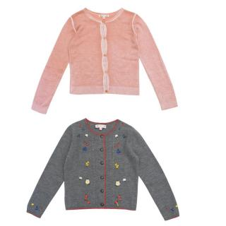 Bonpoint Kid's Grey and Pink Cardigan Set