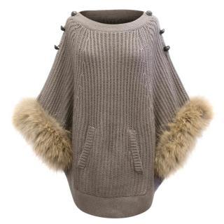 K-Yen Grey Knit Poncho with Fur