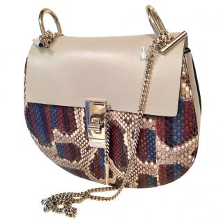 Chloe Drew bag in grey leather and python