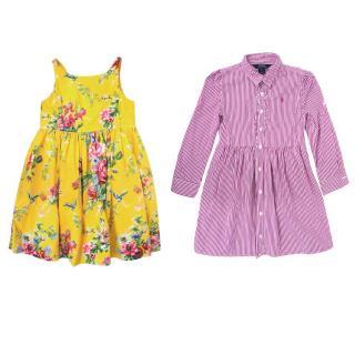 Ralph Lauren Polo Kids Floral Dress & Pink Pinstripe Dress