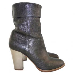 Jimmy Choo pewter leather ankle boots