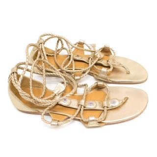 Hermes Gold Wrap Sandals