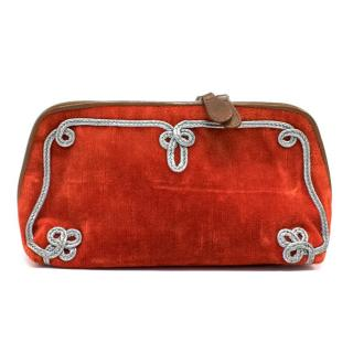 Bottega Veneta Orange Velvet Clutch