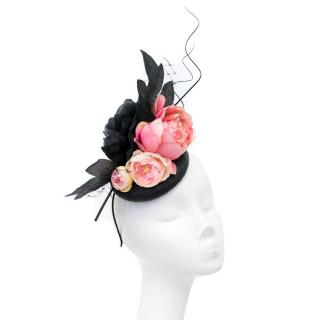 Bespoke Piers Atkinson Pink and Black Floral Hat