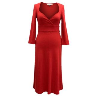 Diane von Furstenberg red v-neck dress