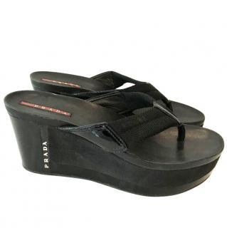 Prada Flip Flop Wedges