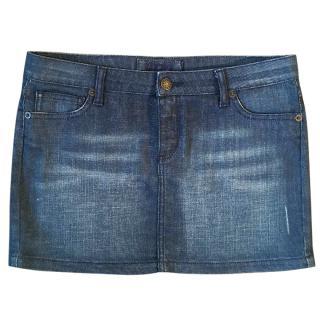 MAJE denim cotton & elastane mini skirt