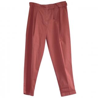 Brunello Cucinelli red cotton trousers