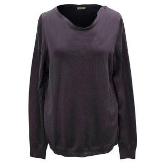 Bottega Veneta Deep Purple Zip-Neck Sweater