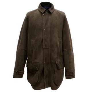 Ralph Lauren Purple Label Men's Brown Fur-Lined Coat