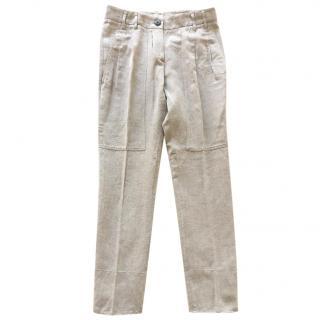 Brunello Cucinelli beige cotton & linen trousers with pleats