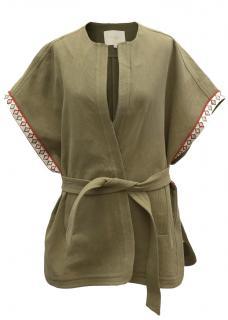 Maje Khaki Sleeveless Belted Jacket