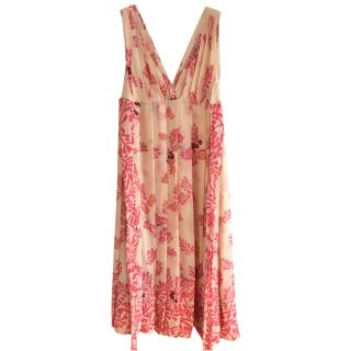 Temperley London Cream and Pink Floral Midi Dress