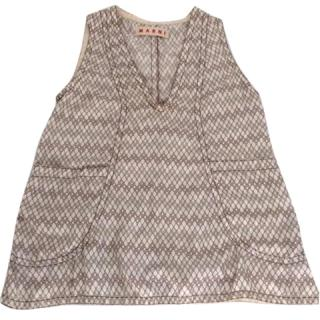 Marni white patterned silk top