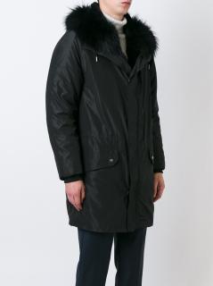 Yves Salomon Fur lined Parka, mens black BNWT