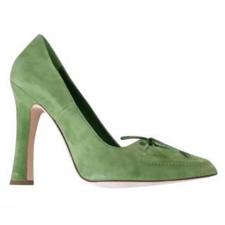 Manolo Blahnik Sage Green Suede Court Shoes