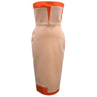 Victoria Beckham red and nude strapless bodycon dress