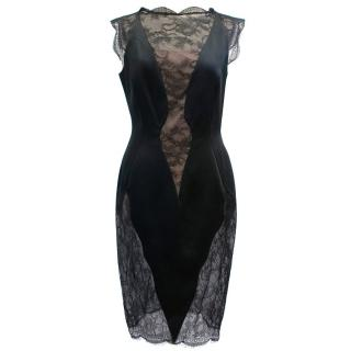 Emanuel Ungaro Black and Nude Lace Dress