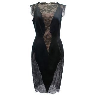 Emanuel Ungaro Black and Nude Lace Dress