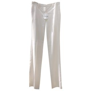 Chloe cream fine wool pants