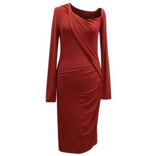 Donna Karan Cherry Red Long Sleeve Dress