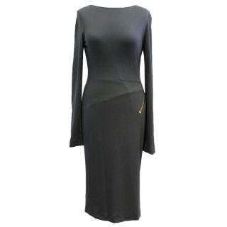 Tom Ford Grey Open Back Zip-Detailed Dress
