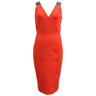 Donna Karan Flame Red Stretch Canvas Dress
