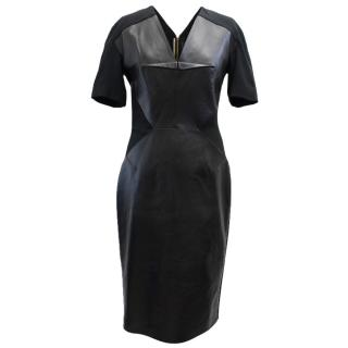 Roland Mouret Nabis Leather & Crepe Panelled Dress