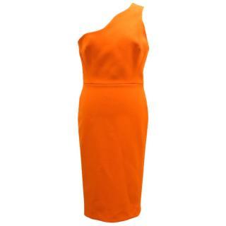 Victoria Beckham Orange One-Shoulder Crepe Dress