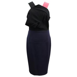 Roland Mouret Black and Navy 'dawkins' Dress