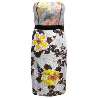 Oscar de la Renta Floral Patterned Strapless Dress