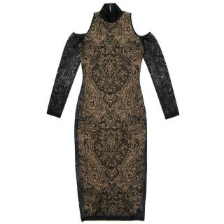 Balmain Black Dress With Lace Overlay