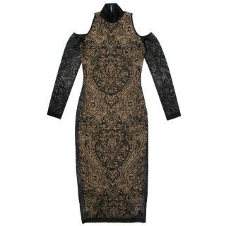 Balmain Black Dress With Lace Overlay