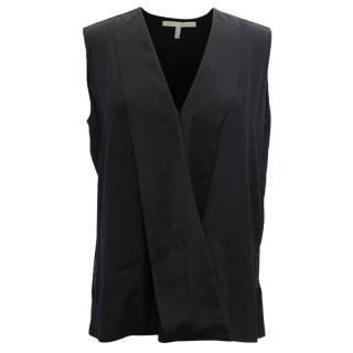 Victoria Beckham Black Stripe Lace Trimmed Silk Top